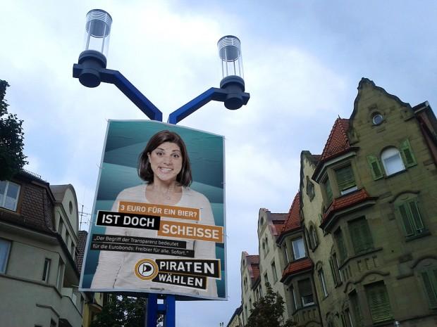 piratenpartei adbusting 3 euro für ein bier freibier  bundestagswahl 2013 wahlkampf