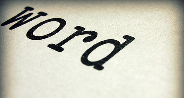 """Das Wort """"word"""" Schreibmaschine"""