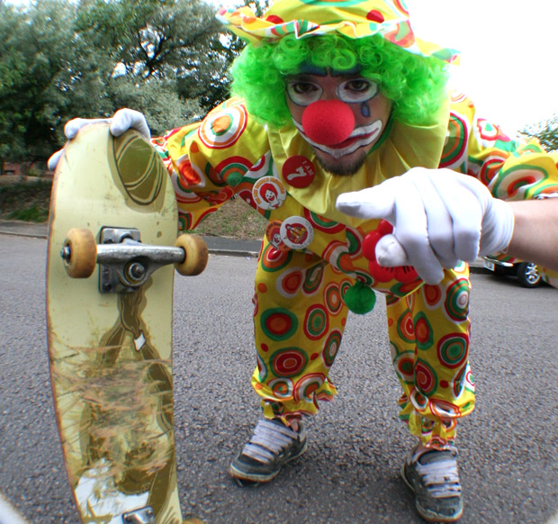 clown skateboard