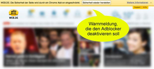Screenshot von web.de Startseite - die Sicherheitswarnung soll User aktivieren, ihren Adblocker zu deaktivieren