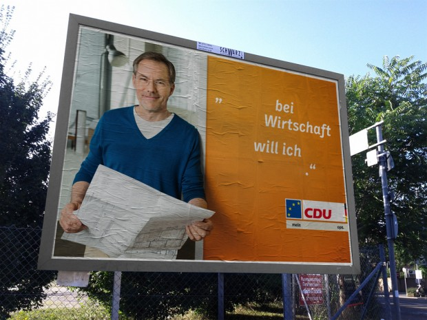 CDU Plakat europawahl 2014 - bei wirtschaft will ich
