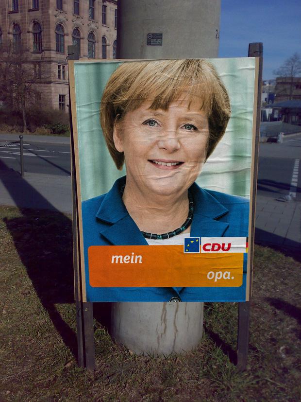 CDU Plakat europawahl 2014 - Frau Angela Merkel und ihr Opa