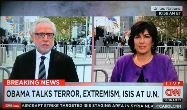 CNN Split Screen Reporter, die nebeneinander stehen