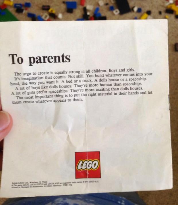 Lego Hinweis an Eltern aus den 70igern kein Gendern