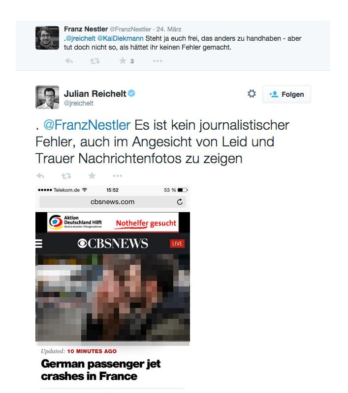 julian reichelt bild zeitung tweet_germanwings flugzeuabsturz