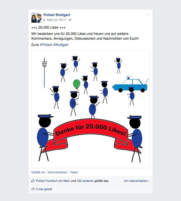 polizei stuttgart feiert 25000 fans auf facebook