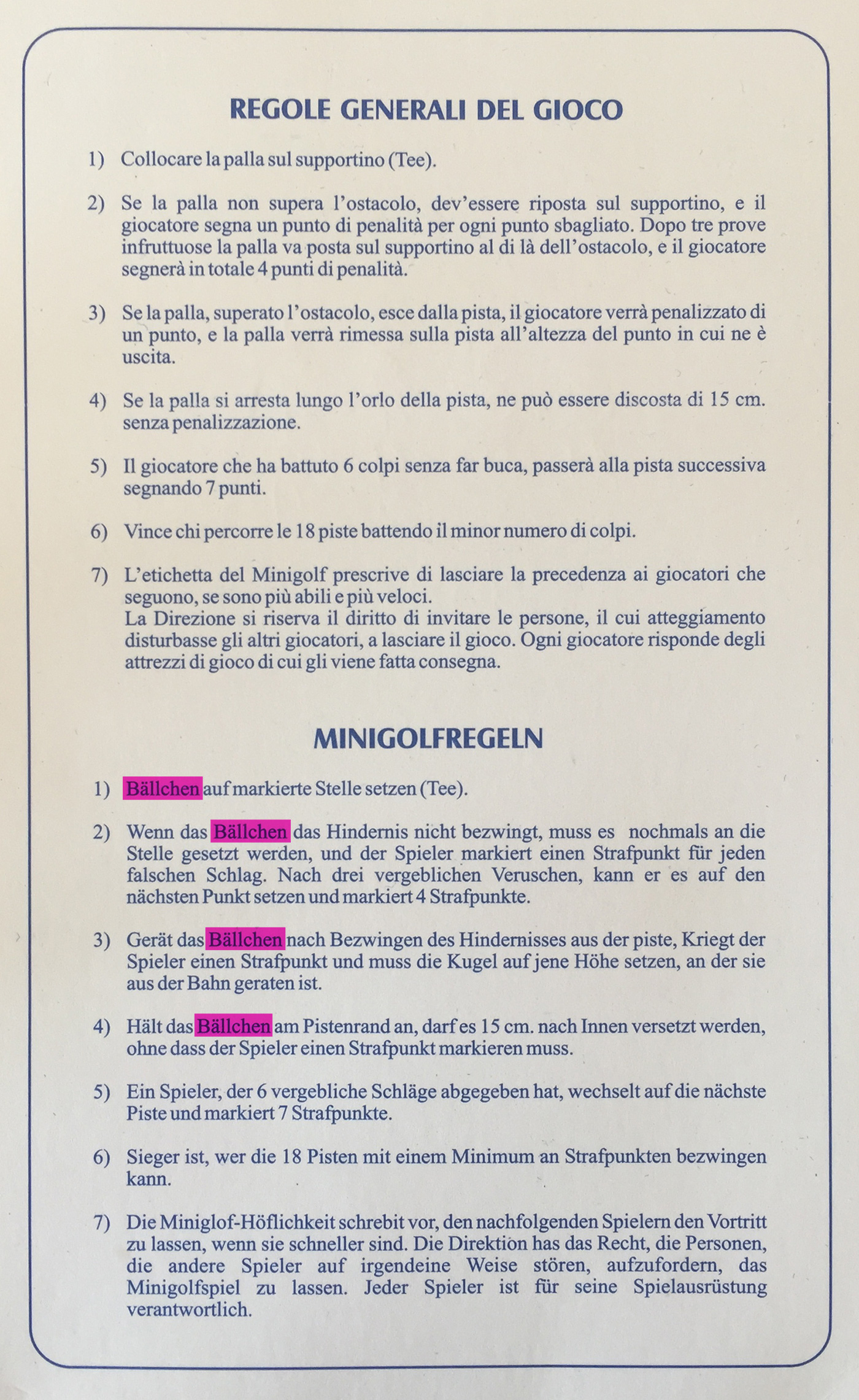 Minigolfregeln aus Italien Minigolf Regeln