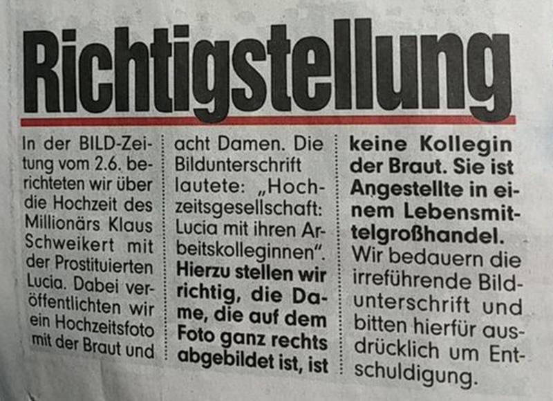 bild richtigstellung Millionär Klaus Schweikert Prostituierte