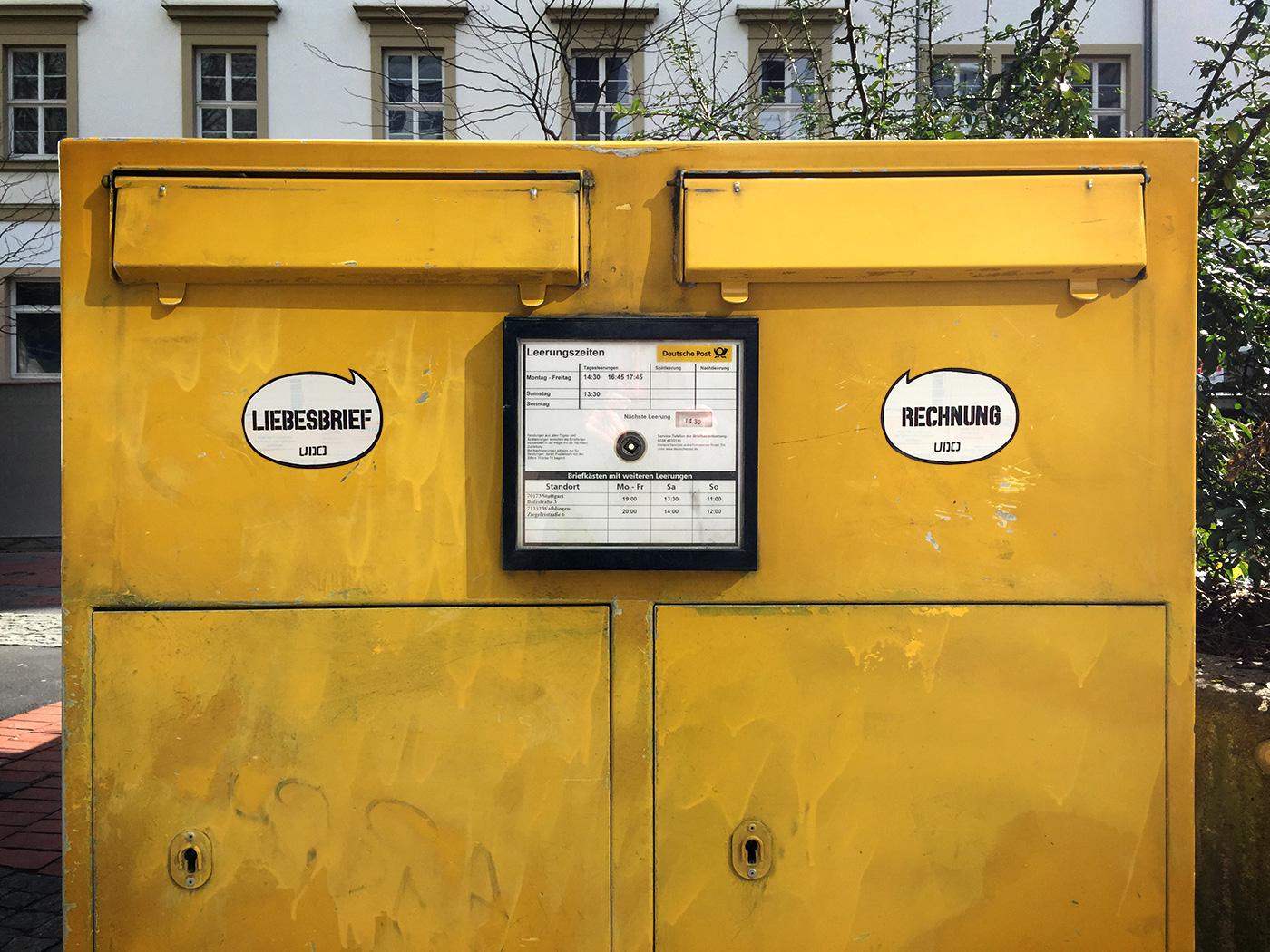 liebesbrief rechnung sticker streetart briefkasten doppelbriefkasten