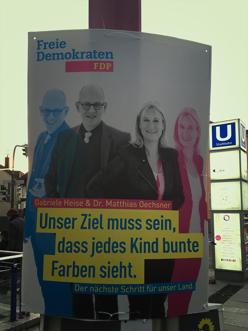 fdp bunte farben wahlplakat landtagswahlen baden-württemberg 2016