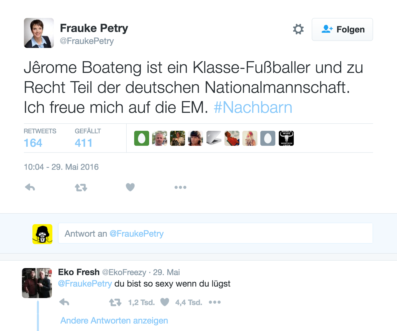 tweet frauke petry jerome boateng nachbarn eko fresh
