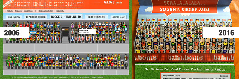Links: Largest Online Stadium - Rechts: FanCup Deutsche Bahn