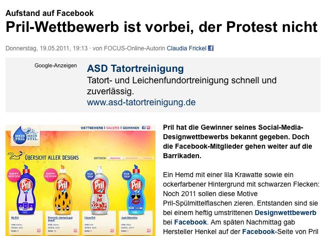 google adwords bei focus online zum pril designwettbewerb facebook