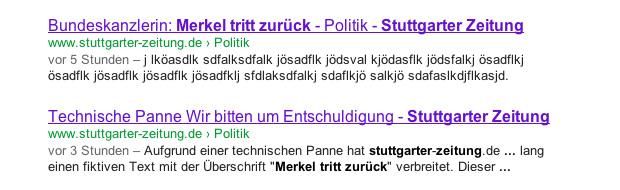 Google Suchergebnis vom 27.01.2012 Merkel tritt zurück - Stuttgarter Zeitung