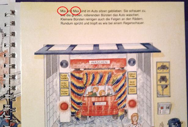 Kinderbuch - vor dem Waschgang heissen die Kinder Mia und Max