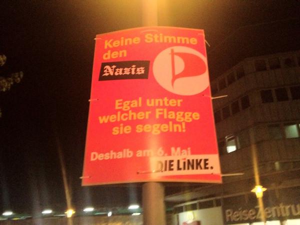 Wahlplakat der Linken für die Landtagswahl am 6. Mai 2012 in Schleswig-Holstein