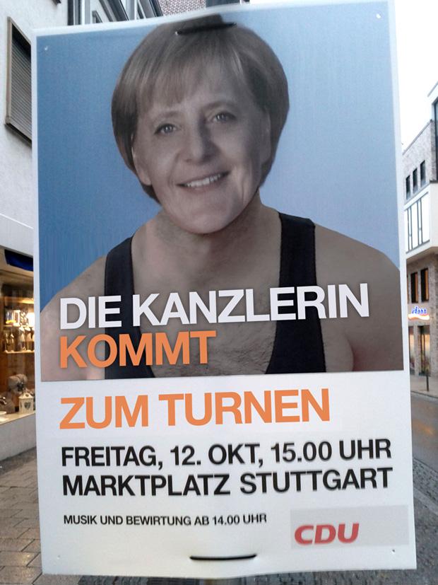 Stuttgart Ob-Wahlkampf: Turnen mit Frau Merkel