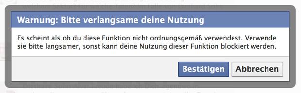 Fehlermeldung nach zu schnellem Tippen bei Facebook