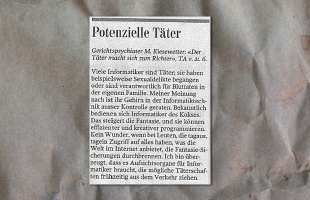 Leserbrief Züricher Zeitung Informatiker sind Täter